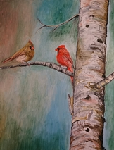 Cardinals on the Birch Tree
